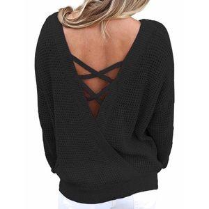 Sweaters - Women Long Sleeve Criss Cross Backless Sweater !
